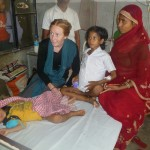 Sarah Rose with young patient, IGIMS, Patna