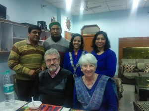 Mr Subhash Bhansal (second from the left) with his family. His daughter in law, standing next to him, taught us how to make chapatis.